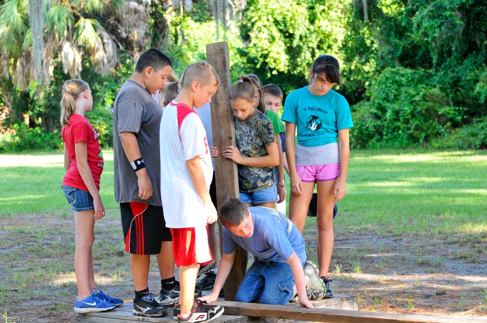 Benefits of a Low Ropes Course - Youth group on the Islands learning to work together.